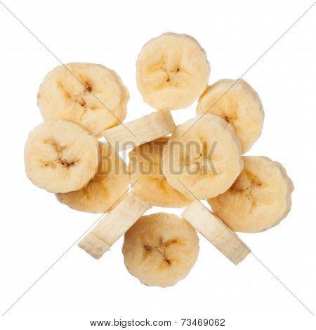 Banana Slices Isolated On White Background