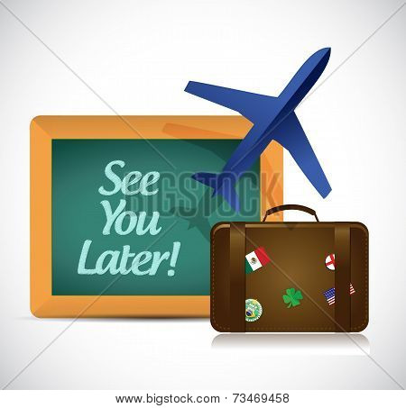 See You Later Blackboard Travel Sign