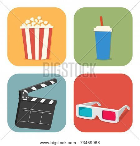 The cinematic illustration. Movie showing with Popcorn, drinks, clapper board and 3D Stereo Glasses