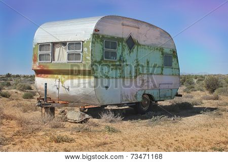 Vintage Weathered Trailer in the Desert