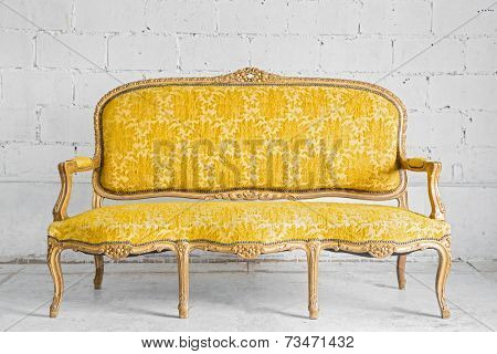 Vintage luxury Yellow sofa Armchair in white brick wall room