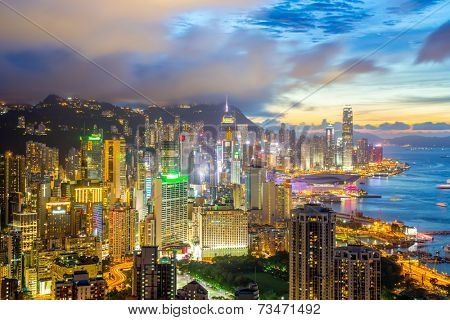 Sunset in hong kong city Skyline from braemar hill