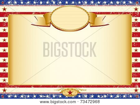 american grunge certificate. American dirty poster with a large empty kraft paper frame for your message