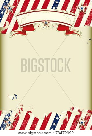 American kraft poster. American dirty poster with a large empty kraft paper frame for your message