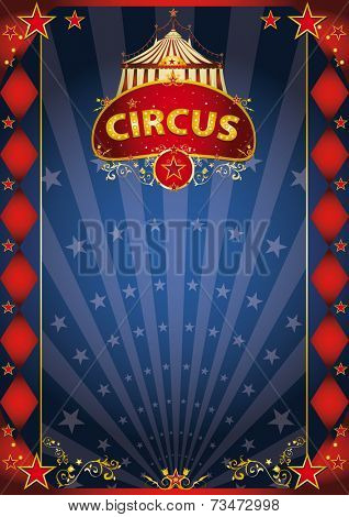 blue fantastic poster poster. A retro circus poster with sunbeams for your entertainment.