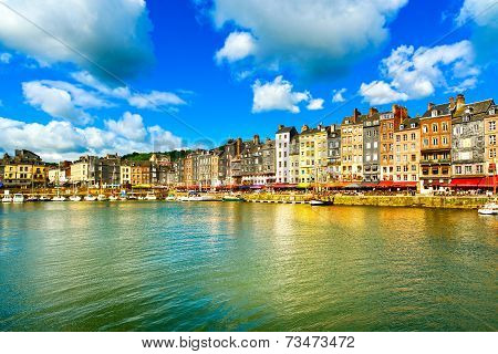 Honfleur Skyline Harbor And Water. Normandy, France