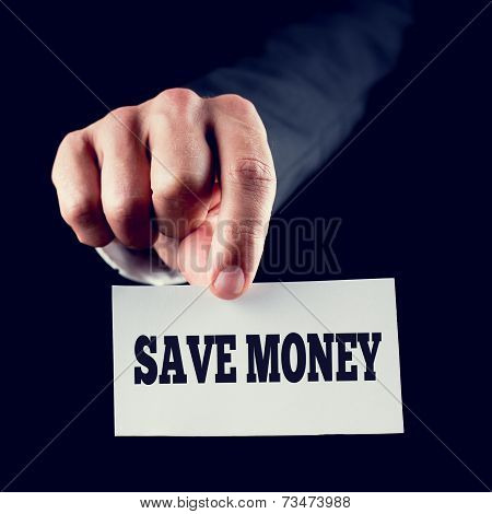 Hand Holding Small Paper With Save Money Texts