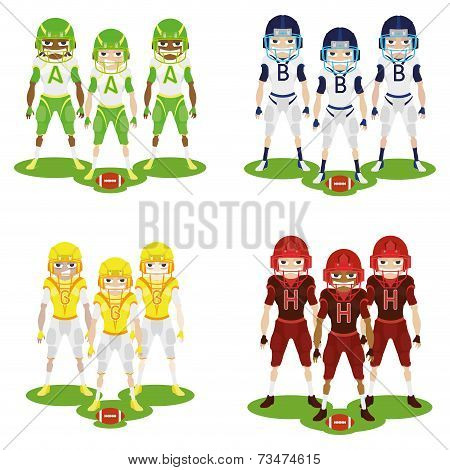 a set of football players with colored uniforms on a white background