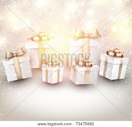 Golden winter background. Fallen bright snowflakes. Christmas gifts. Vector illustration.