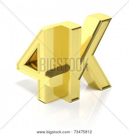 Golden 3D 4K symbol isolated on white