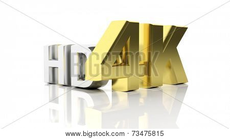 Golden 3D 4K and silver HD symbols isolated