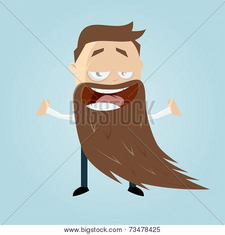 funny cartoon man with a long beard