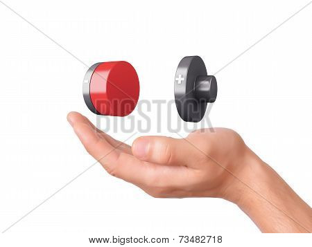 hand hold Battery icon with a low charge
