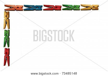 Colored Clothes Pin Border