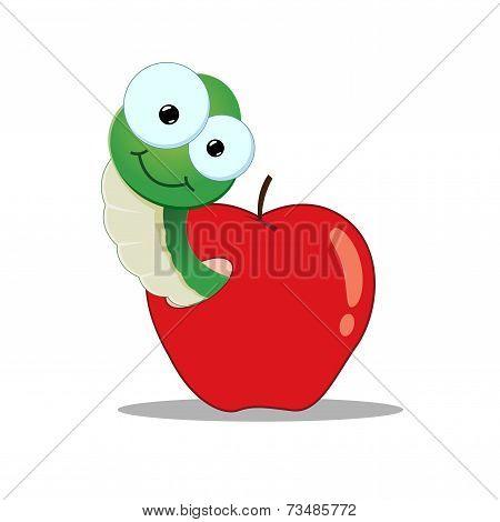 Cartoon Worm In An Apple