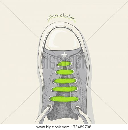 Time for Christmas. Green shoelace