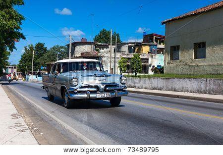 HAVANA,CUBA - June 27, 2014: Silver classic car on the road in havana