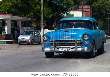 HAVANA,CUBA - June 27, 2014: Blue classic car on the road