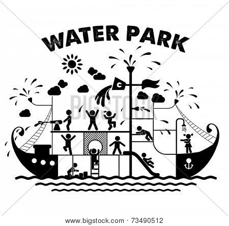 Aqua park flat vector illustration. Pictogram icons of children playing in a water park. Children play on playground. Pictogram icon set.