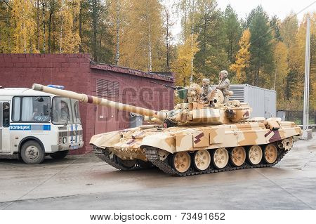 Tank T-90S in motion Russia