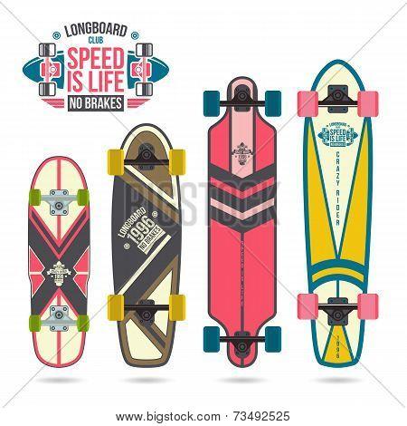 Set Of Prints On Longboard