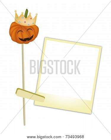 Halloween Pumpkin in A Crown with Blank Photos
