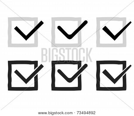 Hand drawn check marks or ticks confirm icons set confirmation acceptance positive passed voting agr
