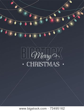 Vintage Christmas design with elements, chalkboard and light garland