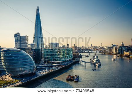 Aerial view on thames and london city