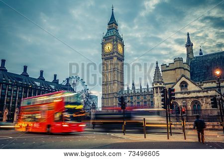 Double-decker bus in night London