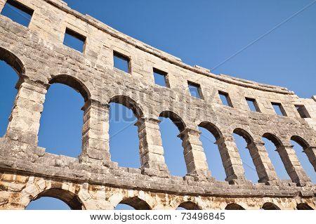 Wall Of The Coliseum In Pula. Croatia