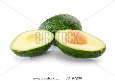 Fresh tropical avocado fruit studio isolated on white background