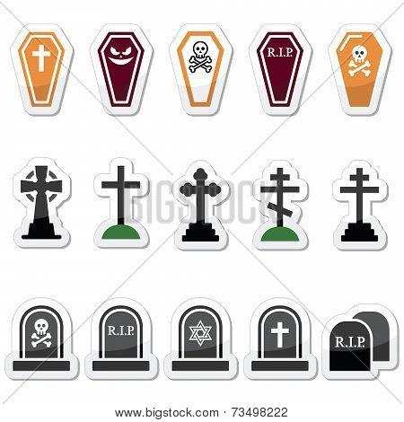 Halloween, graveyard icons set - coffin, cross, grave