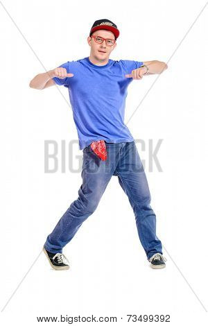 Professional young man dancer dancing hip-hop at studio. Isolated over white.