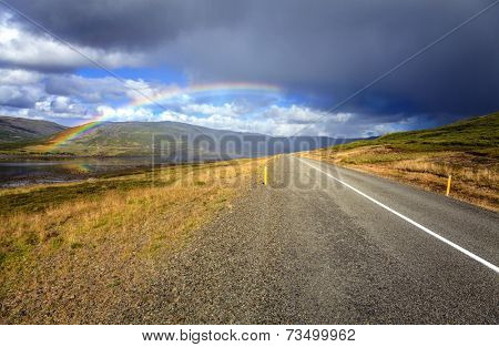 Road through Westfjords in Iceland during rain