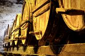 foto of wine cellar  - Details of very old wine barrels in cellar