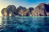 image of cliffs  - Cliff and the clear sea Phi Phi Leh south of Thailand - JPG