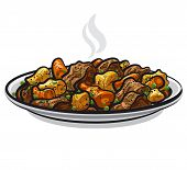 stock photo of steamy  - art illustration of the beef stew with steamy vegetables - JPG