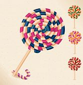 4 lollipops and a candy cane- vector
