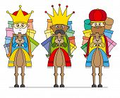stock photo of three kings  - Three Kings on camels and many gifts - JPG