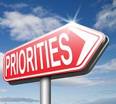 stock photo of priorities  - priorities important very high urgency info highest importance crucial information top priority dont forget  - JPG