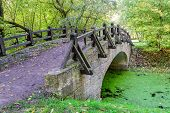 stock photo of covered bridge  - The bridge over the river - JPG