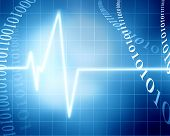 picture of blue-screen-of-death  - heart beat on clinic monitor on a blue background - JPG