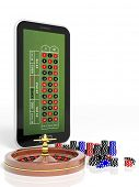 pic of roulette table  - Online casino concept with tablet - JPG