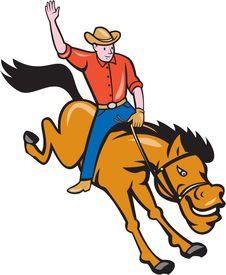 pic of bucking bronco  - Illustration of rodeo cowboy riding bucking horse bronco on isolated white background done in cartoon style - JPG