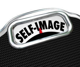 stock photo of bulimic  - Self Image words on a scale display to illustrate the need to diet and lose weight to improve appearance - JPG