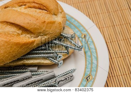 Screws And Dowels Sandwich