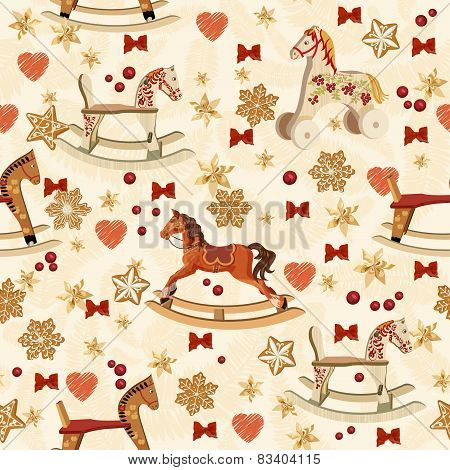 Seamless pattern with rocking horse