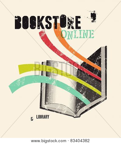 Typographic poster in grunge style for a bookstore or library. Vector illustration.