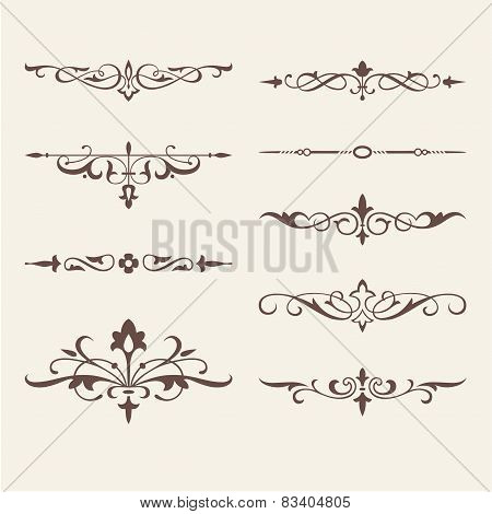 Curled calligraphic design elements for logo template